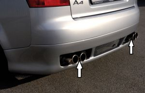 Rieger einddemper, li/re Typ 12, Audi A4 (8E) alleen Quattro | A4 (8E) Type B6: 11.00-10.04 - Avant, Lim. | stuk rvs | Rieger Tuning
