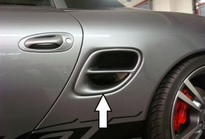 Luchtrooster Turbo Style Porsche Boxster (986) | Boxster (986): 09.96-10.04 | set ongespoten pu-rim | Rieger Tuning