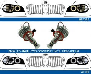 LED H8 Angel Eyes ombouwen van geel naar witte angel EYes