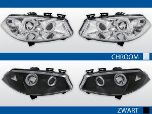angel eye koplampen renault megane 2002-2005 chroom of zwart