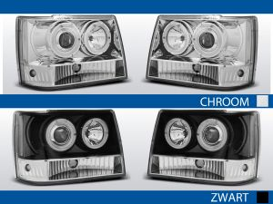angel eyes koplampen chrysler cherokee jz chroom zwart