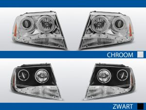 koplampen angel eyes chrysler cherokee wj chroom zwart