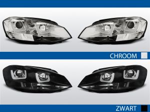 U type koplampen met led drl voor vw golf 7 in chroom en zwart