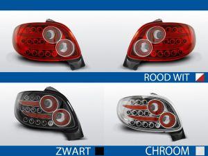 achterlichten peugeot 206 rood/wit, chroom of zwart