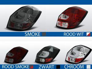 achterlichten skoda fabia 2 rood/wit, rood/smoke, smoke, chroom of zwart