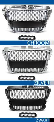grillen set rs type audi a3 8p abs kunststof chroom, zilver of zwart