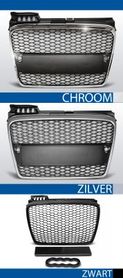 grill set rs type audi a4 b7 abs kunststof chroom, zilver of zwart