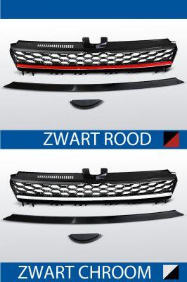 GTI Look grill voor VW Golf 7 chroom / zwart of rood / zwart
