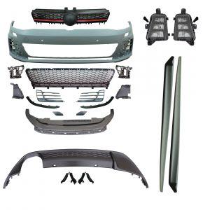 GTI Look bodykit voor VW Volkswagen Golf 7 VII Voorbumper, side skirts en diffuser met mistlampen compleet | ABS Kunststof