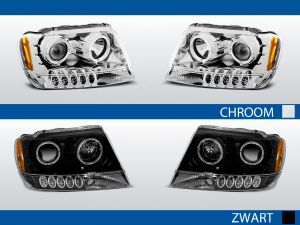 angel eye koplampen chrysler cherokee wj chroom zwart