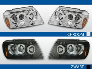 angel eyes koplampen chrysler cherokee wj chroom zwart