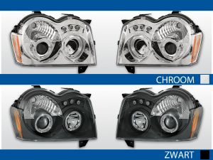 chrysler cherokee wk koplampen met angel eyes in chroom of zwart