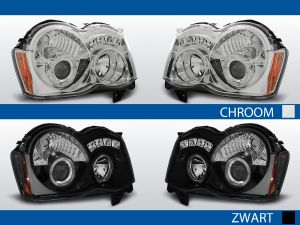 angel eyes koplampen chrysler cherokee wk chroom zwart