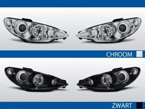 angel eye koplampen voor peugeot 206 in chroom of zwart