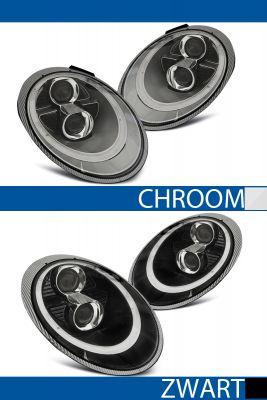 koplampen tube lights porche 911(997) chroom of zwart