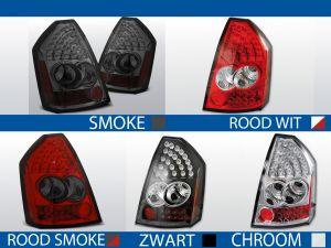 achterlichten crysler 300c rood/wit, rood/smoke, smoke, chroom of zwart