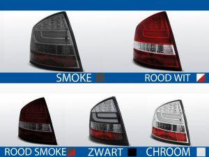 achterlichten skoda octavia 2 sedan rood/wit, rood/smoke, smoke, chroom of zwart