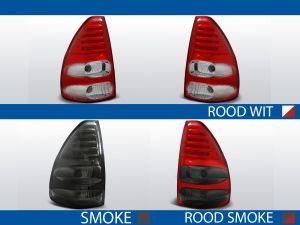 achterlichten toyota land cruiser 120 rood/wit, rood/smoke of smoke