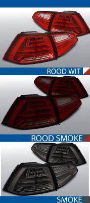 achterlichten volkswagen golf 7 rood/wit, rood/smoke of smoke