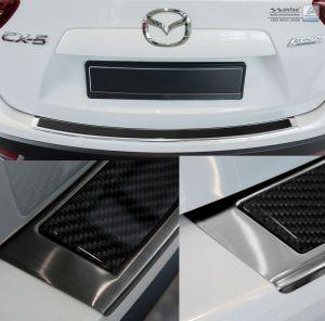 carbon achterbumper bescherming Mazda CX5 | chroom of zwart met carbon inleg