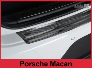 Bumper beschermer rvs met carbon inleg Porsche Macan zwart , rvs, rood-zwart carbon of zwart carbon