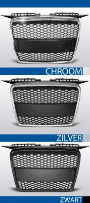 grillen set rs type audi a3 8p chroom/zwart, zilver of zwart