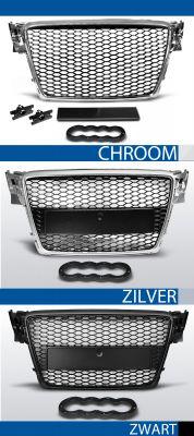 grille set rs type audI a4 b8 abs kunststof chroom, zilver of zwart
