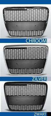 grille set rs type audi a6 c6 abs kunststof chroom, zilver of zwart
