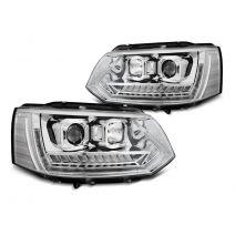 Koplampen | Volkswagen | Multivan 10-15 5d bus. / Transporter Kombi 10-15 4d bus. | T6-Look | LED | Tube-Light | Real DRL | Dynamic Turn Signal |