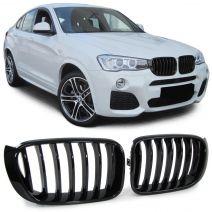 Nieren set | Grillen | BMW | X3 F25 LCI & X4 F26 2014- 5d suv | glanzend zwart