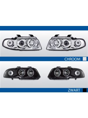 Angel Eyes Audi A4 B5 chroom of zwart met LED Angel Eyes of CCFL Angel Eyes