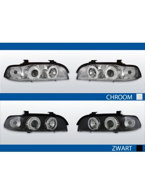 angel eyes koplampen bmw 5-serie e39 chroom en zwart