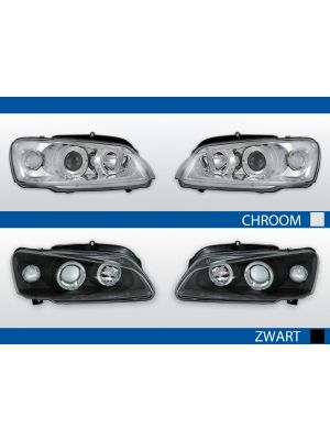angel eyes koplampen in chroom en zwart voor peugeot 106 1996-2003