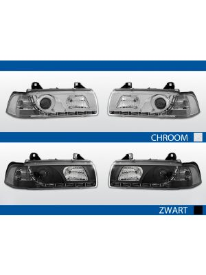led drl koplampen bmw 3-serie e36 2d chroom zwart