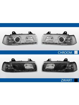 led drl koplampen bmw 3-serie e36 4d chroom zwart