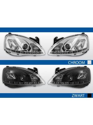 led drl koplampen opel corsa c 2000-2006 chroom zwart