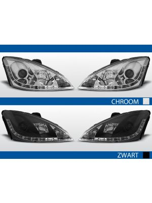 led drl koplampen ford focus 3d/4d/5d chroom zwart