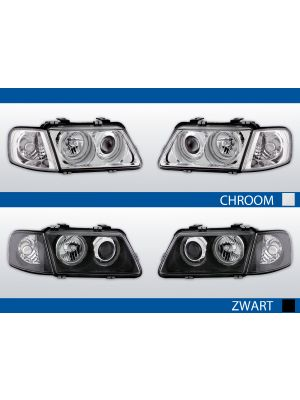 angel eyes koplampen audi a3 8l 1996-2000 in chroom of zwart