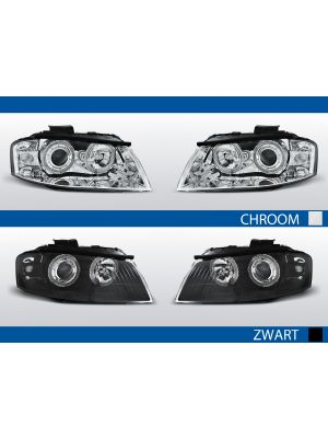 angel eyes koplampen set audi a3 8p zwart chroom