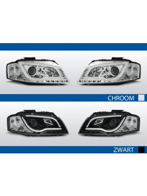 tube light koplampen audi a3 8p chroom zwart