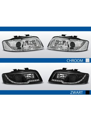tube light koplampen audi a4 b6 met led knipperlicht leverbaar in chroom of zwart