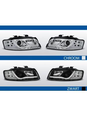 tube light koplampen met led drl voor audi a4 b6 in chroom en zwart