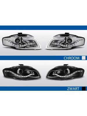 real led drl koplampen audi a4 b7 2004-2008 in chroom en zwart
