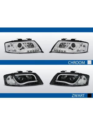 real led drl koplampen met tube light voor audi a6 c5 in chroom en zwart