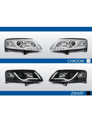 real led drl koplampen met tube light audi a6 c6 chroom zwart