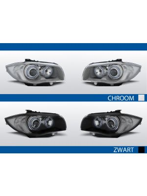 angel eyes koplampen bmw 1-serie e81/e87 chroom zwart