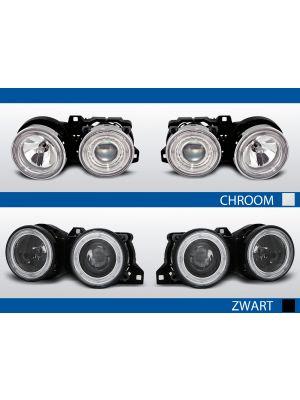 angel eyes koplampen bmw 3-serie e30 zwart chroom
