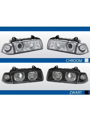 angel eyes koplampen bmw 3-serie e36 chroom zwart