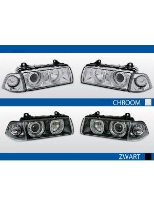 angel eyes koplampen bmw 3-serie e36 zwart chroom