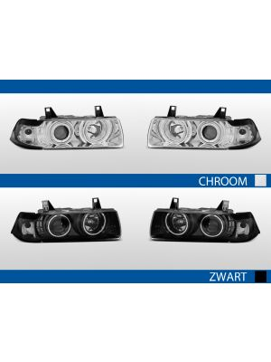 angel eyes koplampen bmw 3-serie e36 chroom zwart